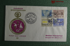 Конверт почтовый, First day cover. Danmark Sportsmotiver. Дания. 1971 год.